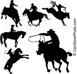 Cowboys on horses silhouettes on a white background