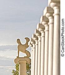 Grego, estátua, mostrando, mítico, esfinge