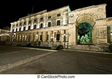 Old British palace by night at Corfu Island, Greece