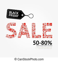 Sale Discount Icons Styled .Black Friday Advertising Price...
