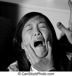 Woman being abused domestic violence crying