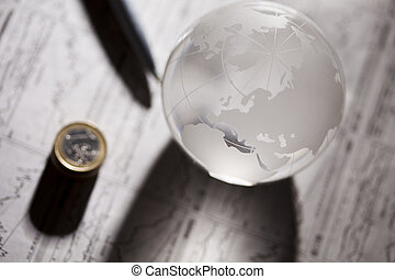 Financial indicators and Euro coins - Photography of euro...