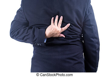 low back pain - businessman with back pain on white...