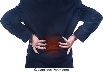 low back pain - businessman with low back pain on white...