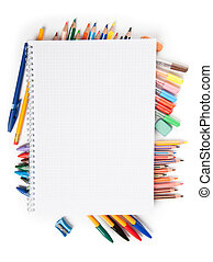school supplies - close up of school supplies isolated on...