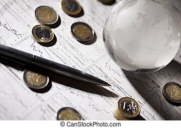 Business & Financial indicators - Photography of euro coins,...