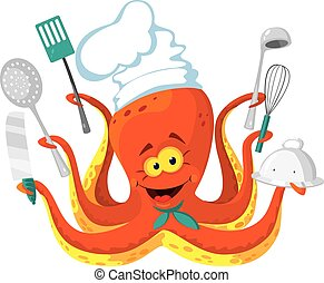 octopus cook - illustration of a octopus cook
