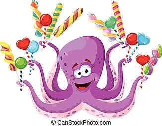 octopus with lollipops - illustration of a octopus with...