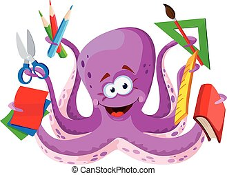 octopus with school supplies