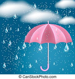Clouds with rain and opened umbrella - Clouds with rain in...