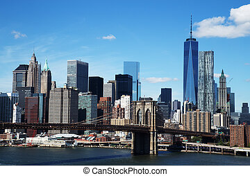 Aerial view of New York City Downtown Skyline with Brooklyn...