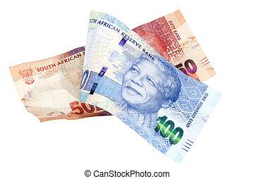 azul,  rand, notas, vermelho, africano, SUL, banco