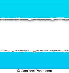 Torn paper - Blue torn paper strips with space for your text...