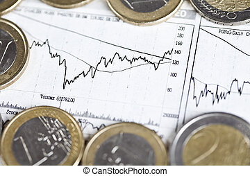 Euro coins and business indicators - Photography of euro...