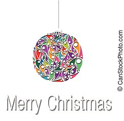 Christmas balls decorations. Vector illustration. Paper card.