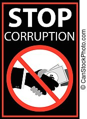 Vector poster Stop Corruption - black Vector poster Stop...