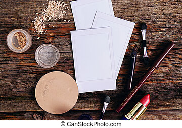 Polaroid with cosmetics