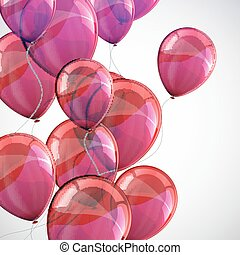 holiday background with flying red balloons and sparkles
