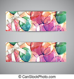 set of holiday banners with multicolored balloons and white...