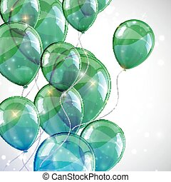 holiday background with flying green balloons and sparkles