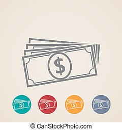 vector money stack icons