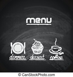 vintage chalkboard menu design with plate, fork, knife, cupcake and coffee cup