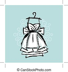 Dress on hangers, sketch for your design Vector illustration...