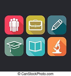 flat icons for web and mobile applications with business,...