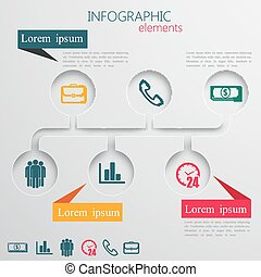 vector set of abstract 3d paper infographic elements for...