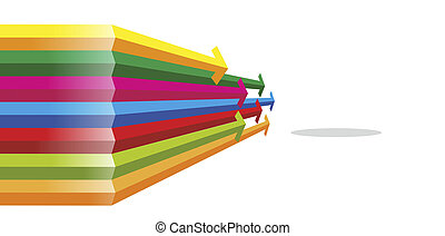 arrows - abstract formation with many differently colored...