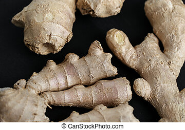 Ginger root on the table