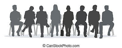 waiting room situation with silhouettes of different people