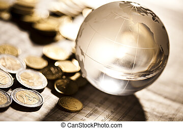 Financial solution and euro - Photography of euro coins,...