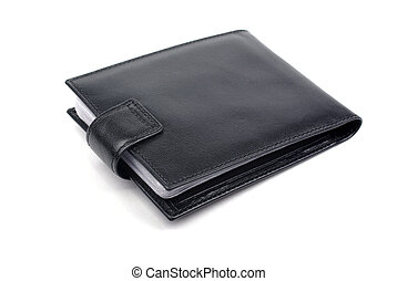 Unused black leather business card holder isolated on white...