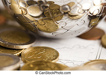 Financial indicators & Euro coins - Photography of euro...