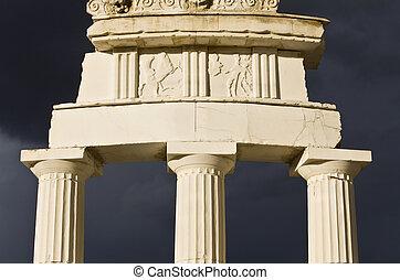 Detail of the Delphi Apollo temple in Greece