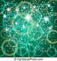 Vector abstract green background with bokeh and particles