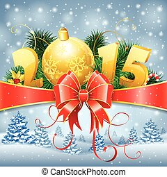 New Year Background with Fir Branches, Bauble, Streamer, Bow...