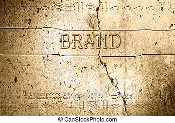 brand - word brand on wall with egyptian alphabet made in 2d...