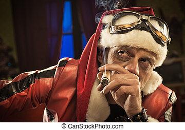 Bad Santa smoking a cigar - Bad cool Santa smoking a cigar...