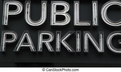Public Parking. - Large public parking sign. Closeup....