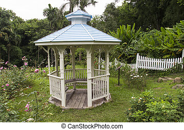 pavilion in the rose garden - wooden pavilion in the pink...