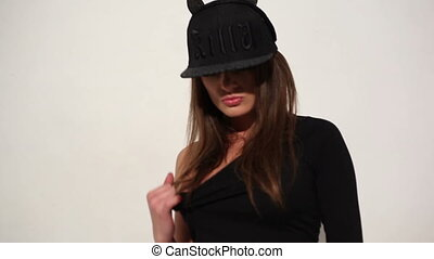 Sensual Woman in Black Underwear and Bonnet - Sensual Pretty...