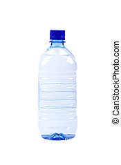 Blue bottle of mineral water isolated on white background.