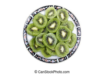 Studio shot of sliced fresh kiwi isolated on white background.