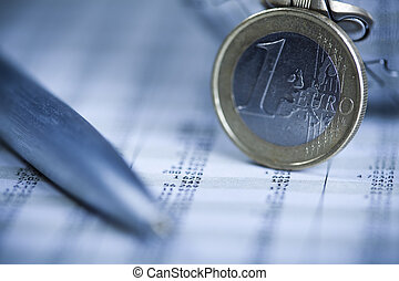 Euro payment - Photography of financial rating, money as a...