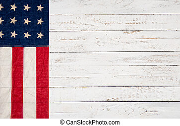 木製である, 旗, 白, アメリカ人, 背景
