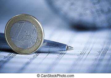 Coins and European Union - Photography of financial rating,...