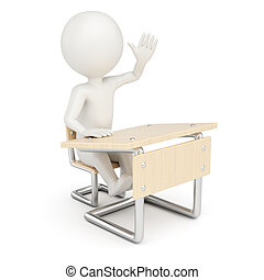 3D man student - 3D man sitting behind school desk isolated...