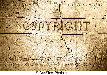 copyright - wordcopyright on wall with egyptian alphabet...